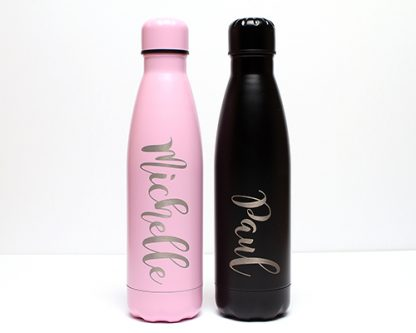 Matt Black and pink 500ml Double Wall Thermos Bottle Double wall, vacuum insulated, stainless steel 500ml water bottle.